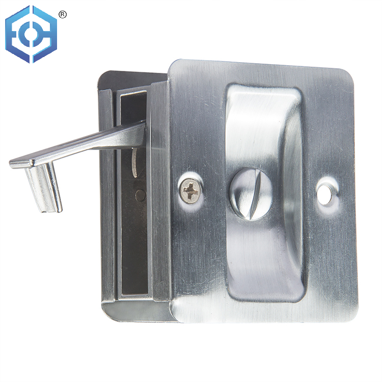 Factory Direct Sale Brass Or Stainless Steel Round Cavity Double Turn Privacy Slide Pocket Door Lock