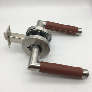 Stainless Steel Turnstyle Designs Tube Stitch Out Combination Leather Lever Door Handles