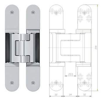 180 degree concealed hinge zinc alloy Heavy Duty 3D Adjust Concealed Door Hinge