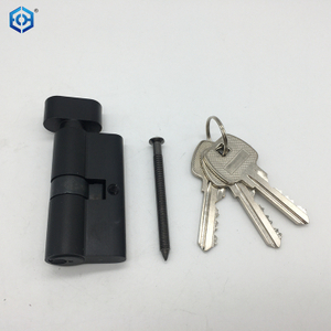 70mm Black Brass Euro Profile Double Side Cylinder Door Lock with Keys