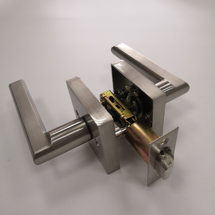 Factory Supplied zinc alloy Double Hole Keyless Door Handle Lock with Latch Only