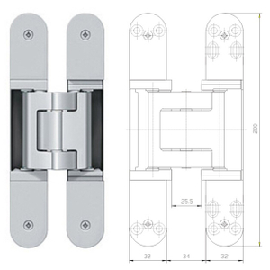 3D SUS 304 Adjustable conceal hinge for heavy duty door