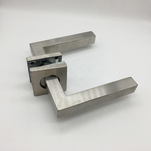 Modern Door Hardware Hollow Stainless Steel Square Rose External Door Handles for Wooden Doors