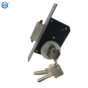 Double Hooks Wooden Sliding Concealed Pocket Door Hardware Slider Door Lock with Lock Cylinder