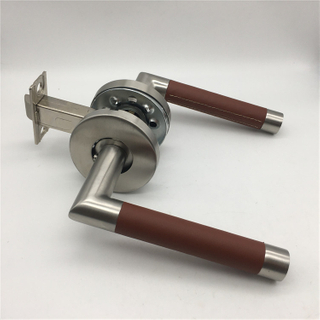 Stainless Steel Brown Leather And Stain Nickel Lever on Rose Door Handles