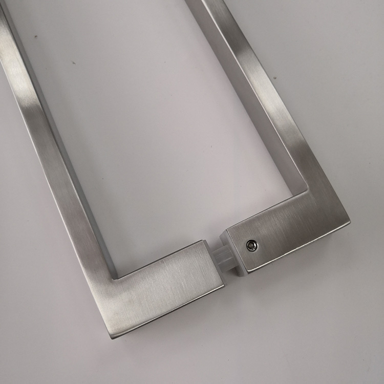 Brushed Nickel Square Commercial Stainless Steel Bathroom Glass Long Door Pull Handle