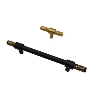 Black Knurled Cabinet Handles in Polished Brass T Bar - 96mm 128mm