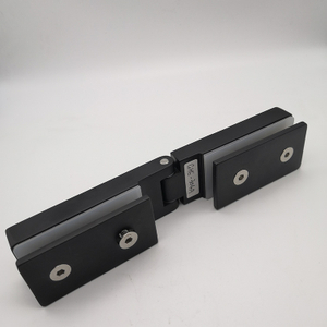 Black Stainless Steel Adjustable Shower Room Door Glass To Glass Clip Hinge