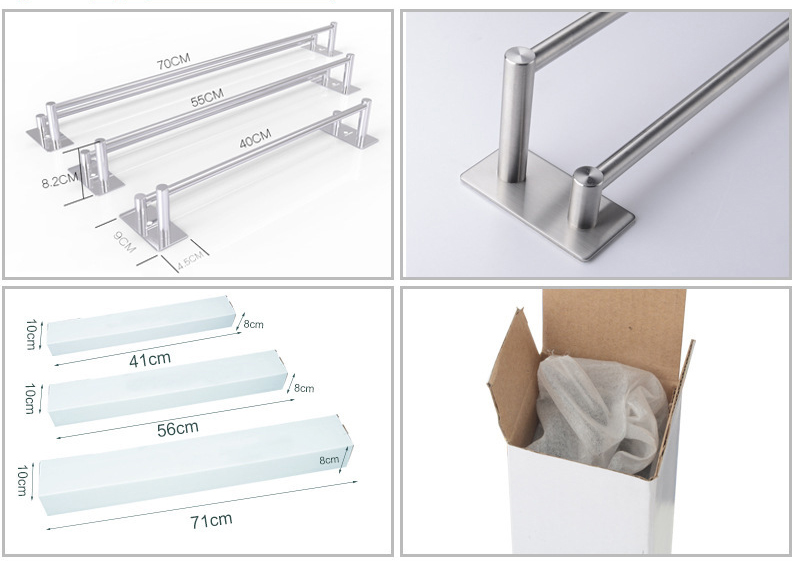 SSS stainless steel 70cm Hand Towel Bar with Water-Resistant Strips (2-Towel Bar) use 3M easy to install