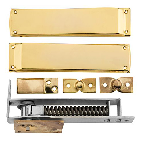 (EDC002)brass Floor Spring Door Closer Double Acting Floor Spring Hinge for Cafe/kitchen Door stain Nickel/brass