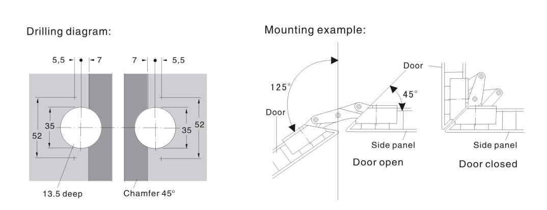 stainless steel and zinc alloy No spring 125 degree door hinge