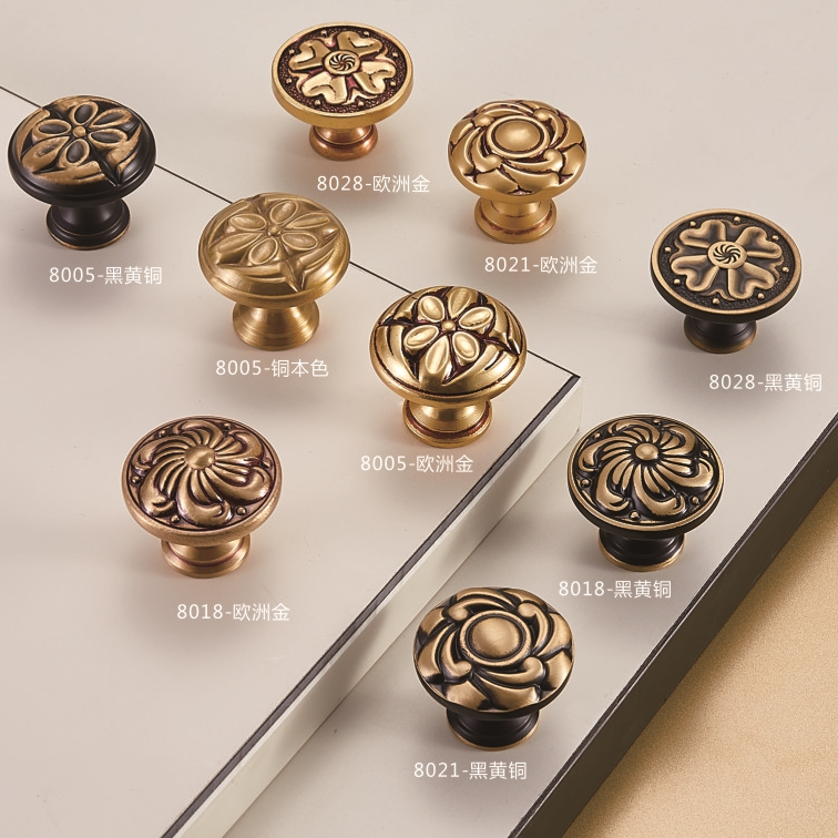 Zinc Alloy cabinet door hardware brass pulls