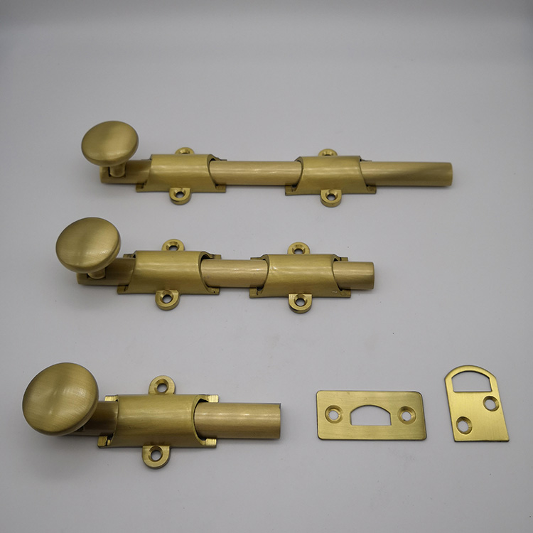 24 traditional style surface door bolt in solid brass finish PVD