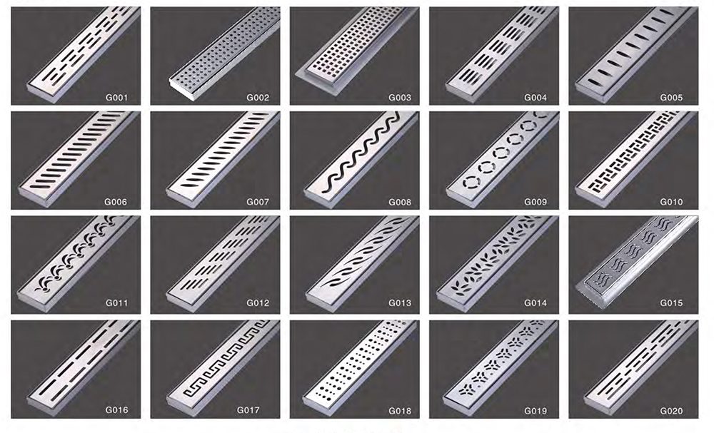 "Stainless Steel Square Grate Linear 2"" Linear Shower Drain"