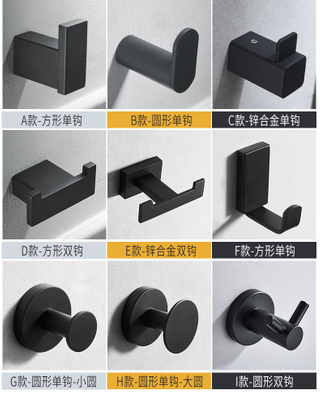 Stainless Steel Black Coat Hook Towel Hook Robe Hook Wall Mounted Cap Racks Clothes Hook Bathroom Accessories