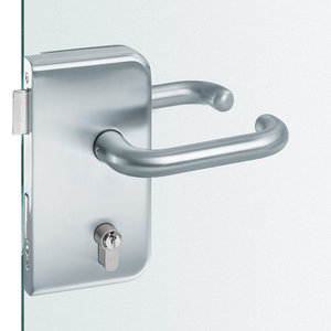 Euopean Glass Door Lock,Round Edge, Rectangular Lockset Plate Rounded Corners with Cover Plates with Heavy-duty Glass Door Lock(DIN 18251,analogous To Glass 4)